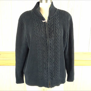 Lands' End ~ Navy Blue Heavy Cable Knit Cardigan